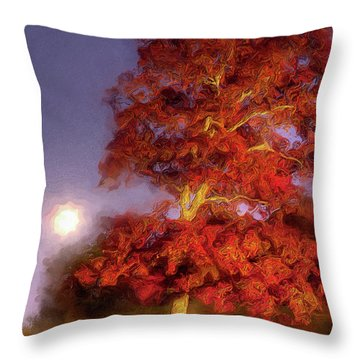 Throw Pillow featuring the painting Fall Colors Moonrise In The Blue Ridge Ap by Dan Carmichael