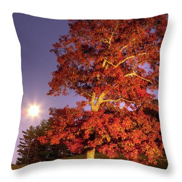 Throw Pillow featuring the photograph Fall Colors Moonrise In The Blue Ridge by Dan Carmichael