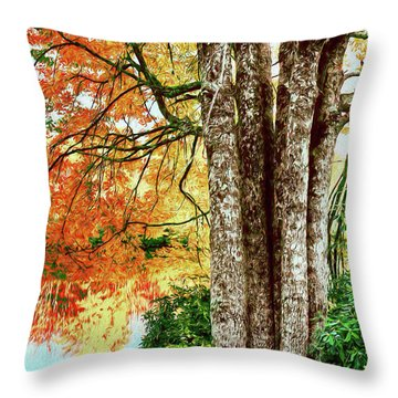 Throw Pillow featuring the painting Fall Colors Reflecting In A Blue Ridge Lake Ap by Dan Carmichael