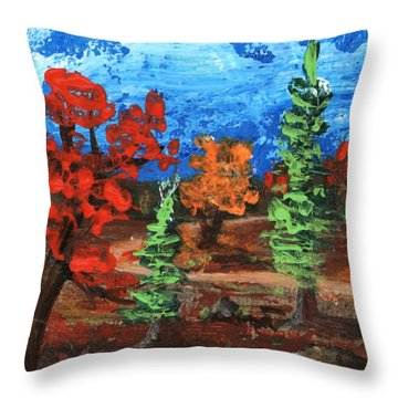 Throw Pillow featuring the painting Fall Colours #1 by Anastasiya Malakhova