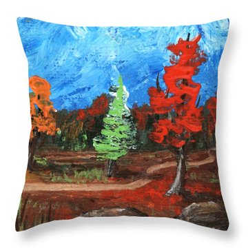 Throw Pillow featuring the painting Fall Colours #2 by Anastasiya Malakhova