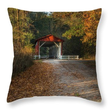 Throw Pillow featuring the photograph Fall Covered Bridge by Dale Kincaid