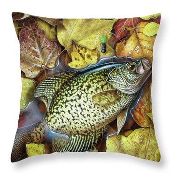 Fall Crappie Throw Pillow by JQ Licensing