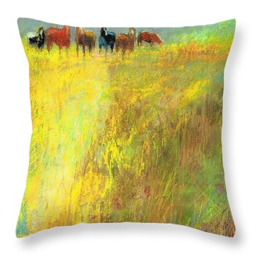 Throw Pillow featuring the painting Fall Day On The Mesa by Frances Marino