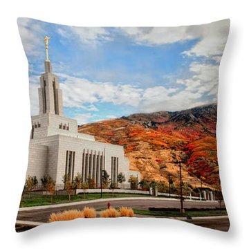Fall Draper Temple Throw Pillow by La Rae  Roberts