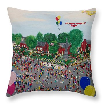 Throw Pillow featuring the painting Fall Fair by Virginia Coyle