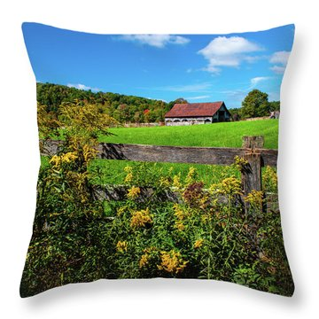 Fall Farm Throw Pillow by Rebecca Hiatt
