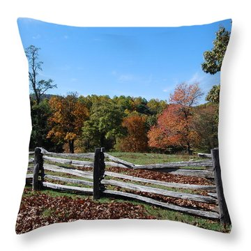 Throw Pillow featuring the photograph Fall Fence by Eric Liller