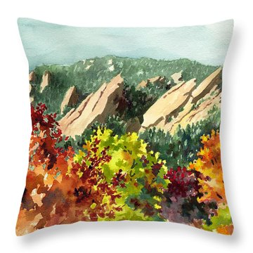 Fall Flatirons Throw Pillow by Anne Gifford