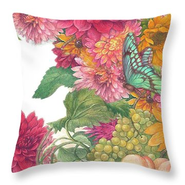 Fall Florals With Illustrated Butterfly Throw Pillow