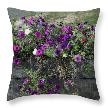 Fall Flower Box Throw Pillow by Joanne Coyle