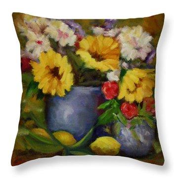 Fall Flower Still-life Throw Pillow by Linda Hiller