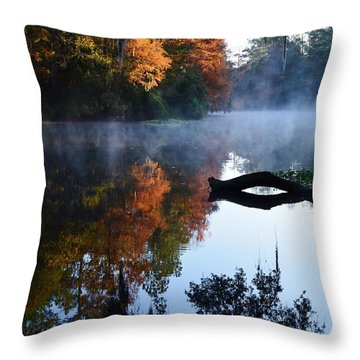 Fall Fog Throw Pillow by Warren Thompson