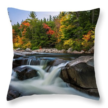 Fall Foliage Along Swift River In White Mountains New Hampshire  Throw Pillow by Ranjay Mitra