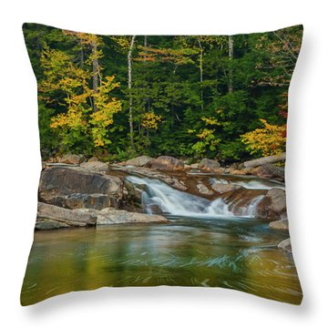Fall Foliage In Autumn Along Swift River In New Hampshire Throw Pillow