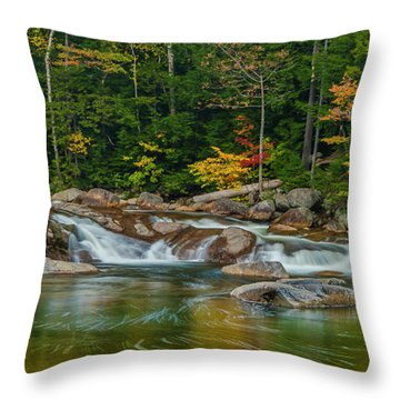 Fall Foliage In Autumn Along Swift River In New Hampshire Throw Pillow by Ranjay Mitra