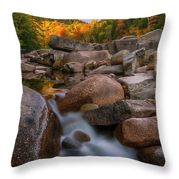 Throw Pillow featuring the photograph Fall Foliage In New Hampshire Swift River by Ranjay Mitra