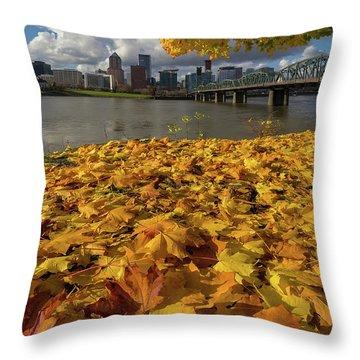 Fall Foliage In Portland Oregon City Throw Pillow