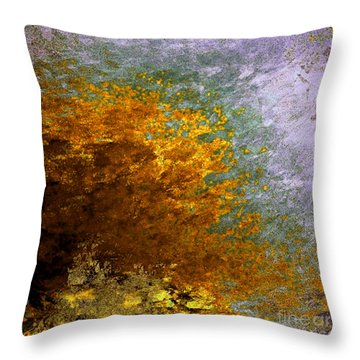 Throw Pillow featuring the digital art Fall Foliage by John Krakora