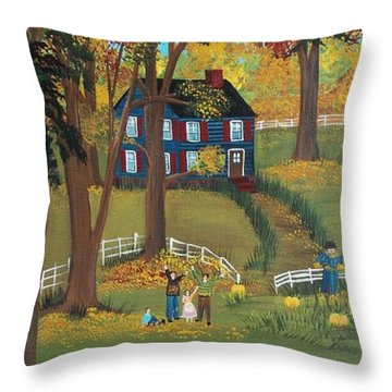 Throw Pillow featuring the painting Fall Foliage by Virginia Coyle