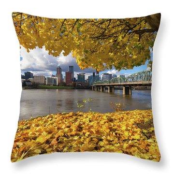 Fall Foliage With Portland Oregon City Throw Pillow