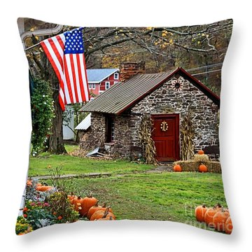 Throw Pillow featuring the photograph Fall Harvest - Rural America by DJ Florek