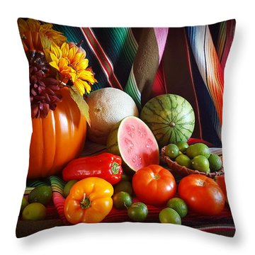 Throw Pillow featuring the painting Fall Harvest Still Life by Marilyn Smith