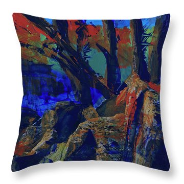 Throw Pillow featuring the painting Fall Hiking Trail 1 by Walter Fahmy