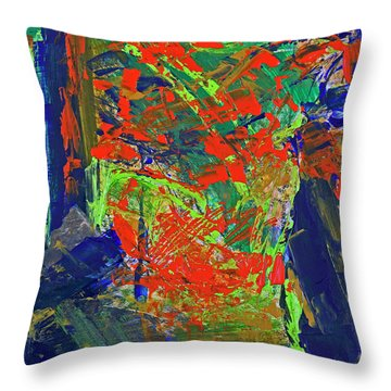Throw Pillow featuring the painting Fall Hiking Trail by Walter Fahmy