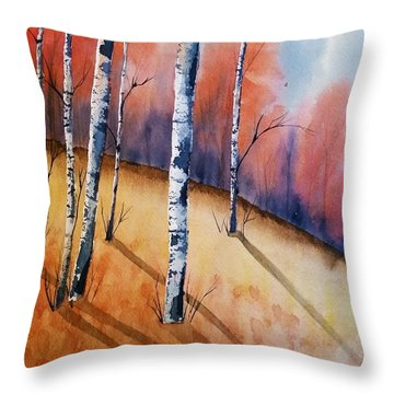 Fall In The Birches Throw Pillow