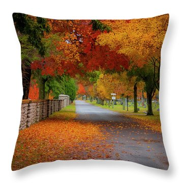 Fall In The Cemetery Throw Pillow