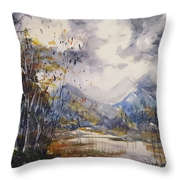 Throw Pillow featuring the painting Fall In The Mountains by Reed Novotny