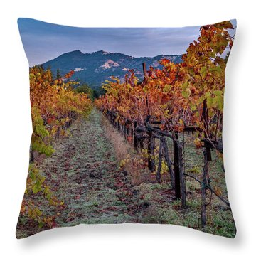 Throw Pillow featuring the pastel Fall In Wine Country by Bill Gallagher