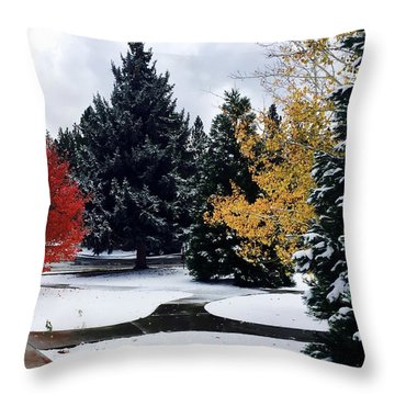 Fall Into Winter Throw Pillow by Russell Keating