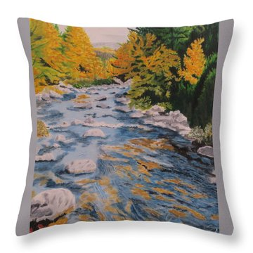 Throw Pillow featuring the painting Fall Is Coming by Hilda and Jose Garrancho