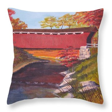 Fall Is In The Air Throw Pillow by CB Woodling