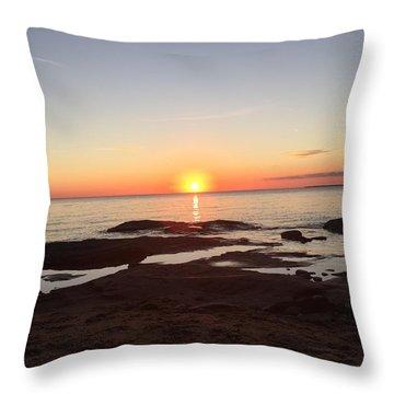 Fall Lake Superior Sunset Throw Pillow