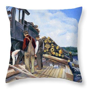 Fall Lake Train Throw Pillow