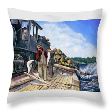 Fall Lake Train Throw Pillow