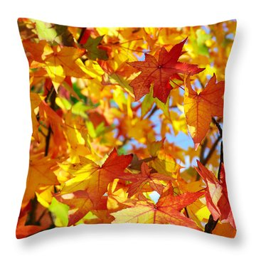 Fall Leaves Background Throw Pillow by Carlos Caetano