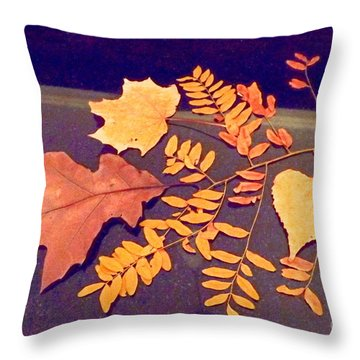 Fall Leaves On Granite Counter Throw Pillow by Annie Gibbons