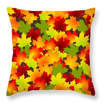 Fall Leaves Quilt Throw Pillow by Anastasiya Malakhova