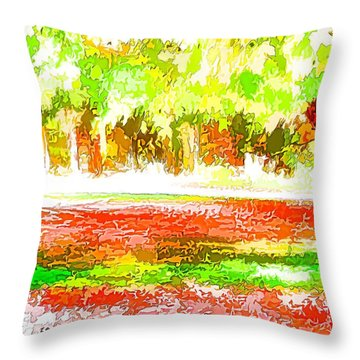 Fall Leaves Trees 2 Throw Pillow by Lanjee Chee