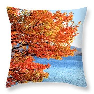 Fall Maple Tree Graces Smith Mountain Lake, Va Throw Pillow