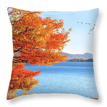 Fall Maple Tree Graces Smith Mountain Lake, Va Throw Pillow
