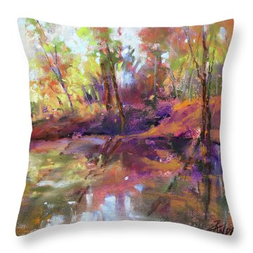 Fall Millpond Throw Pillow