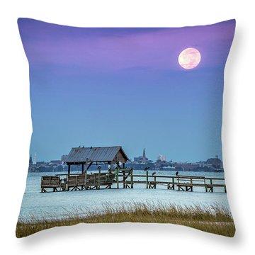 Fall Moon And King Tide - Charleston Sc Throw Pillow
