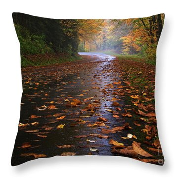 Fall Morning, Great Smoky Mountains National Park Throw Pillow