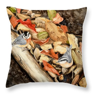 Fall Nuthatch Pair Throw Pillow
