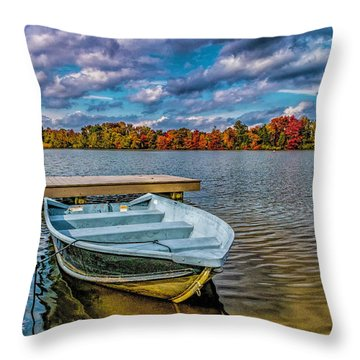 Throw Pillow featuring the photograph Fall On Alloway Lake by Nick Zelinsky